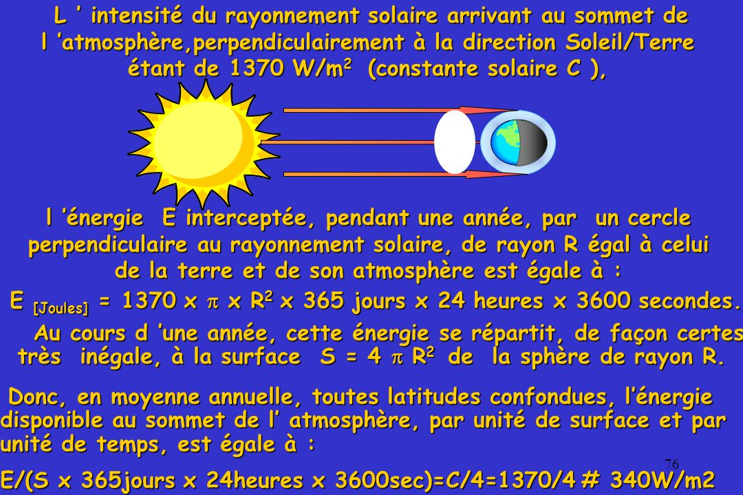 E [Joules] = 1370 x  x R2 x 365 jours x 24 heures x 3600 secondes.